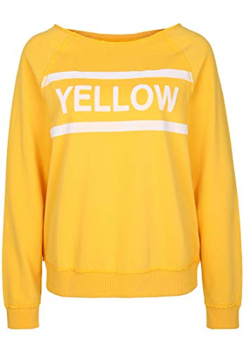 Juvia Damen Sweatshirt Fleece Raglan Sweater Yellow Flock-Print Sunflower S Fleece Raglan Sweatshirt