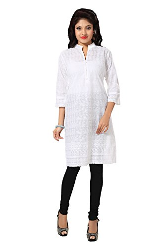 All plus size kurtis & small size kurtis for Women's in cotton chikankari of white color with A-line style by D&D(White-42)