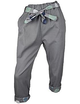 CIVICO 51 Pantaloni Donna Casual in Cotone a Vita Alta con Cintura