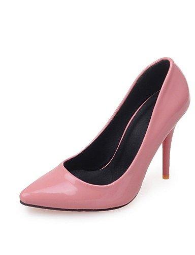 WSS 2016 Chaussures Femme-Bureau & Travail / Décontracté-Noir / Rose / Rouge-Talon Aiguille-Talons / Bout Pointu-Talons-Cuir Verni red-us8 / eu39 / uk6 / cn39