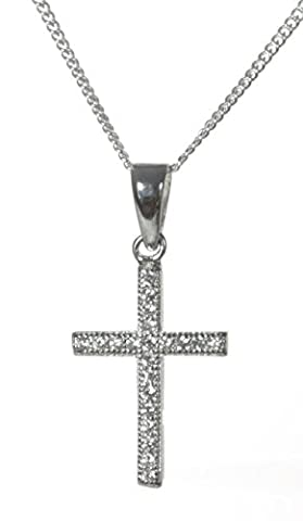Classical 925 Sterling Silver Ladies Cross Pendant + Chain with Cubic Zirconia/CZ - 22mm*11mm