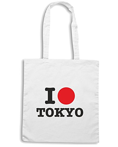 T-Shirtshock - Borsa Shopping T0242 I LOVE TOKIO Bianco