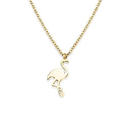 Halskette mit Flamingo aus hochwertigem Edelstahl in Farbe Gold für Frauen extrem widerstandsfähiges Material + Gratis Geschenkverpackung