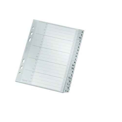 Leitz 1265 Plastikregister A-Z grau 20 Blatt 16,5mmx21,0mm