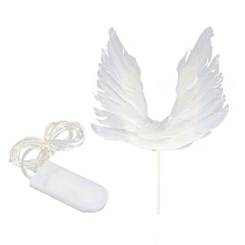 YeahiBaby Feder Engel Flügel Kuchen Cupcake Topper Picks mit LED Licht für Baby Kinder Geburtstag Jubiläum Hochzeit Party Deko (Engelsflügel Mit Federn)