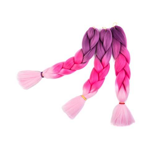 Extension treccine per capelli trecce braiding hair braids extensions ombre 3 pezzi extension trecce per capelli (rosa pesca)