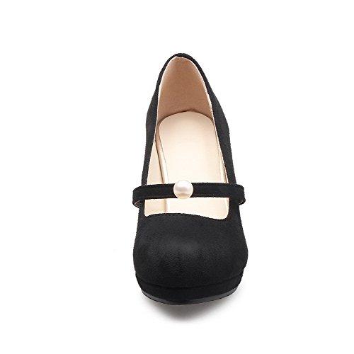 AllhqFashion Femme Tire Rond à Talon Correct Dépolissement Couleur Unie Chaussures Légeres Noir