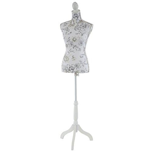 Mendler Schneiderpuppe T222, Schaufensterpuppe Torso weiblich, Fiberglas ~ Weiß mit Blumen