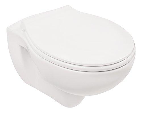 AquaSu Wand-WC-Set , Tiefspüler , Spülrandlose Toilette , Hängetoilette , Einfache Reinigung , weiß