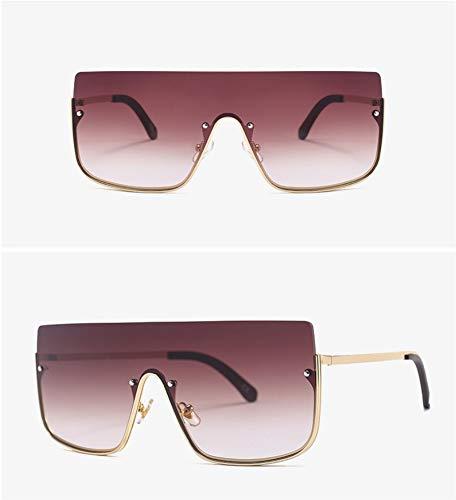 WSKPE Sonnenbrille,Halbe Rahmen Schild Sonnenbrille Oversized Sonnenbrille Mode Gradient Schattierungen Frauen Metall Uv400 Gold Frame Braune Linse