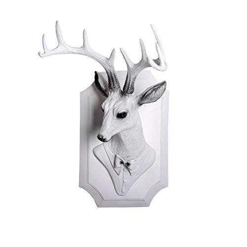 Grande Sculpture D/écor Maison D/écoration Murale Accessoires Animal Figurine F/ête De Mariage Suspendus D/écorations SCH 3D T/ête De Cerf Statue Color : Black