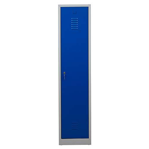 Certeo Garderobenspind | HxBxT 180 x 41,5 x 50 cm | Zylinderschloss | Grau-Blau | Garderobenspind Umkleidespind Spind Schrank Abschließbar - Mit Storage-sitzbank Garderobe