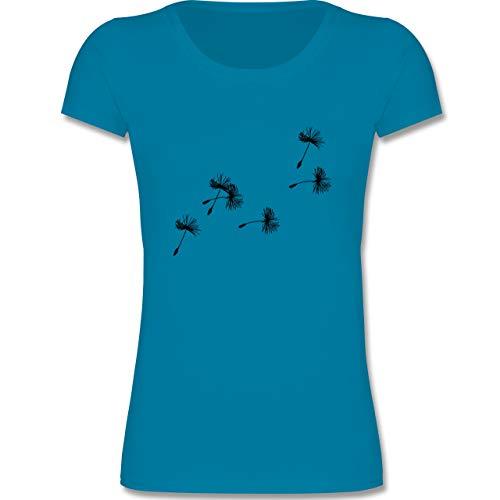 Up to Date Kind - Pusteblume Löwenzahn Samen - 110-116 (5-6 Jahre) - Azurblau - F288K - Mädchen T-Shirt