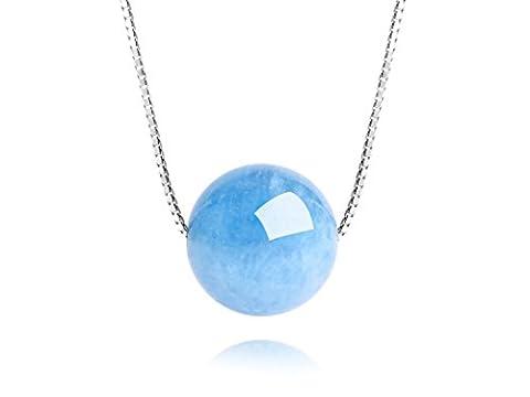 Dalwa Women Necklace 925 Sterling Silver with Gemstone Brazil Aquamarine Pendant Blue 45 CM + Gift Box