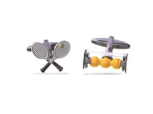 Tennis Schläger & Tennis Bälle Manschettenknöpfe von Rollo Badger, Perfect Game, Set & Match, Herren Geburtstag Geschenk, in für ()