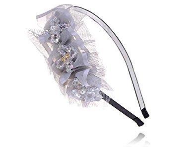 Alilang Hand Made Grey Girl Faux Pearl Bead Bow Mesh Ribbon Accent Headband Hair Piece