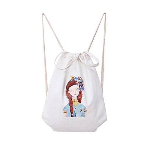 Laat Rucksack mit Kordelzug, Tasche mit Cartoon-Motiv, Baumwollgewebe, tragbare Cinch-Tasche, Sporttasche, Umhängetasche für Damen und Herren