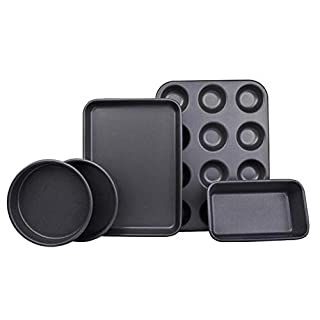 Ariana Homeware® 5-Piece Bakeware Set Baking Equipment- with Muffin Tray, Oven Tray, Cake Pan, Loaf Pan & Spring Form Cake Tin