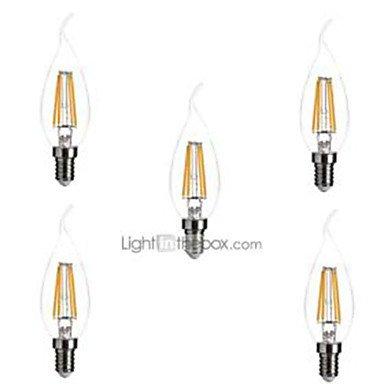 5 piezas ONDENN E12 4W 4 COB 400 lm Blanco Cálido CA35 edison Cosecha Bombillas de Filamento LED AC 110-130 V , 100-120v