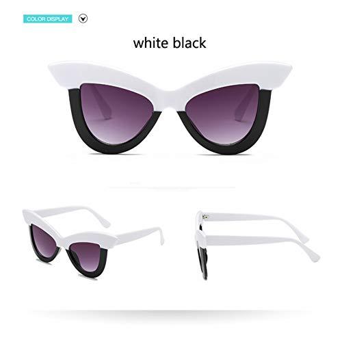 Taiyangcheng Cat Eye Sonnenbrillen Frauen Spiegel Brille Männer Big Frame Eyewear Shades,weiß schwarz
