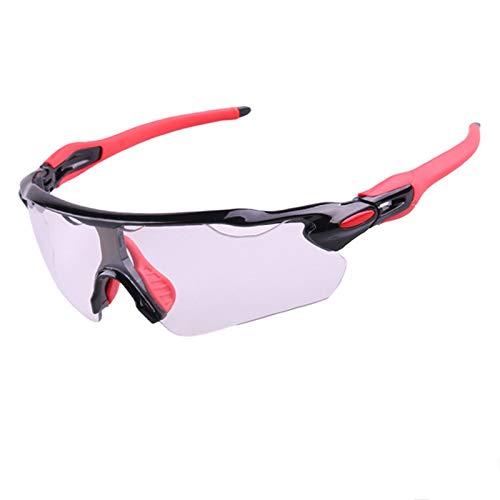 KnBoB Brille Fahrrad Fahrradbrille Antibeschlag Fahrradbrillen Für Herren Selbsttönend Schwarz Rot