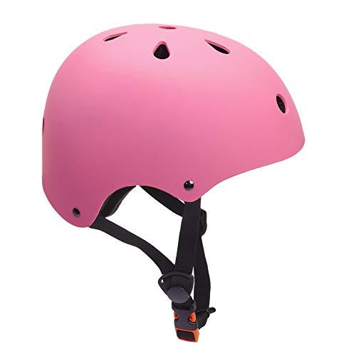 KORIMEFA Casco Bicicleta para Niños Casco Infantil Ajustable para Monopatín Patinaje BMX Esquiar, Casco para multibles Deportes niño niña de Edad de 3-8 años (Rosa)