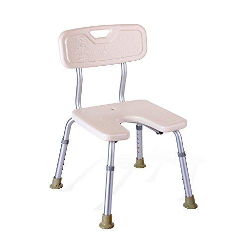 MyAou-Shower Chair Duschstuhl U-Typ Badehocker Höhenverstellbarer Badhocker mit Rückenlehne Elterlicher Duschhocker
