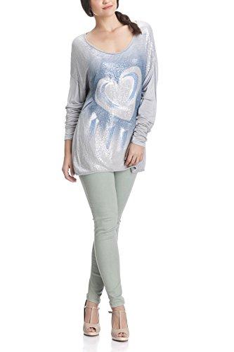 Laura Moretti Langarm-T-Shirt mit Pailletten und Herz Grau