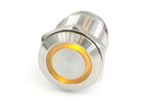 Phobya 0 Push-Button Vandalism-Proof/Bell Push 19mm Stainless Steel, Yellow Ring Lighting 6pin...