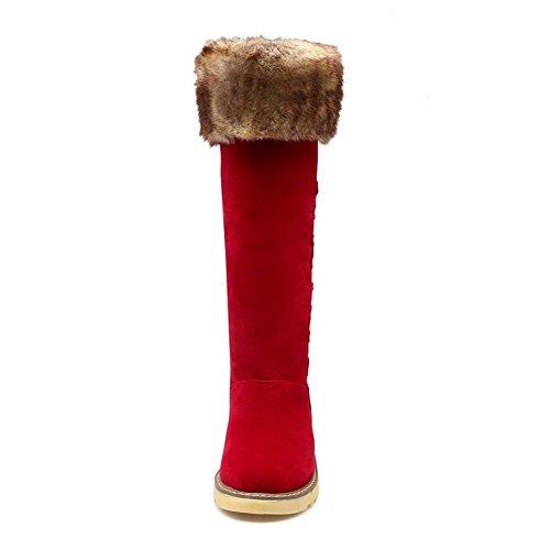 VogueZone009 Femme Haut Demi Couleur Unie Tire Rond à Talon Bas Bottes Rouge