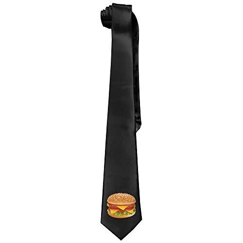 Big Hamburger Mens Acceossories Necktie Printed Ties Silk New Length 143-145cm - Big Mens Down Vest