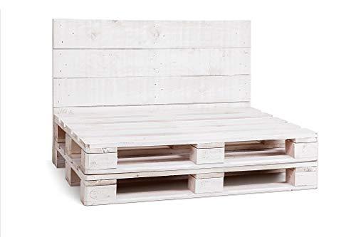 Estructura de Sofa Hecha con Palets/Pallets Color Blanco con Respaldo para Interior...