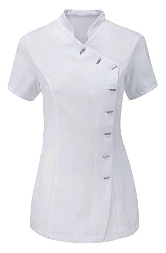 Spa-uniformen (Momo&Ayat Fashions Mesdames Beauté Coiffure SPA Thérapeute Massagesalon Uniforme Overall Tunika EUR Größe 36-54 (EUR 38 (UK 10), Weiß))