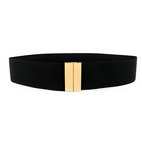 Myb cintura elastica nera per donna con fibbia in metallo dorata - larghezza 50mm - diverse taglie disponibili (75 cm)