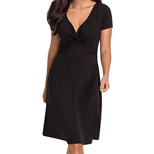 Deloito Damen Mode Elegant Einfarbig Übergröße Kurze Ärmel V-Ausschnitt Beiläufig Kurz Abend Party Kleid (Schwarz,Medium) - Stil Schwarze Kurze