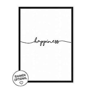 happiness - Kunstdruck auf wunderbarem Hahnemühle Papier DIN A4 -ohne Rahmen- schwarz-weißes Bild Poster zur Deko im Büro/Wohnung/als Geschenk Mitbringsel zum Geburtstag etc.