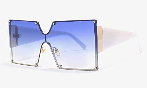 CQYYDD Red Oversized Sonnenbrille Uv400 Square Vintage Half MetallrahmenObjektiv Big FemaleSonnenbrillefür Männer als Show in Foto weiß mit blau