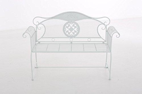CLP Gartenbank RIKE im Landhausstil, aus lackiertem Eisen, 136 x 59 cm – aus bis zu 6 Farben wählen Weiß - 2
