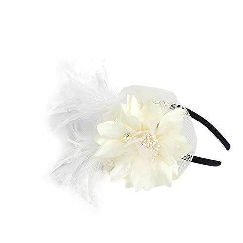 TEBAISE Hut Blume Mesh Bänder Federn auf Einem Stirnband und Einem geteilten Clip Cocktail Tea Party Headwear für Mädchen und Frauen Weihnachten Karneval