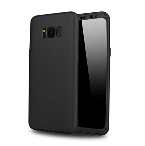 Samsung Galaxy S8 Hüllen, Sunyun 360 Grad Vollschutz Weich TPU + PC Schützend Zurück Fall Abdeckung Schale für Samsung Galaxy S8, Anti-Fingerabdrücke (S8, Schwarz)