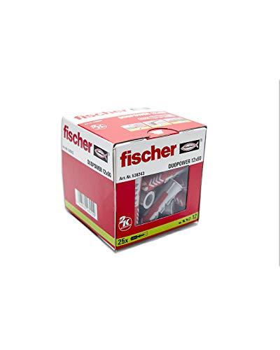 fischer Taco DuoPower 12x60-(Caja de 25 Ud.), 538243, Gris y Rojo, 0