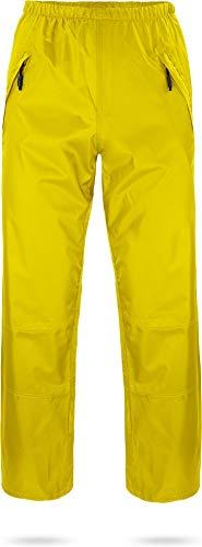 normani Unisex Regenhose 6000 mm wasserdicht, Winddicht und atmungsaktiv mit Reißverschlusstaschen für Damen und Herren Farbe Gelb Größe M