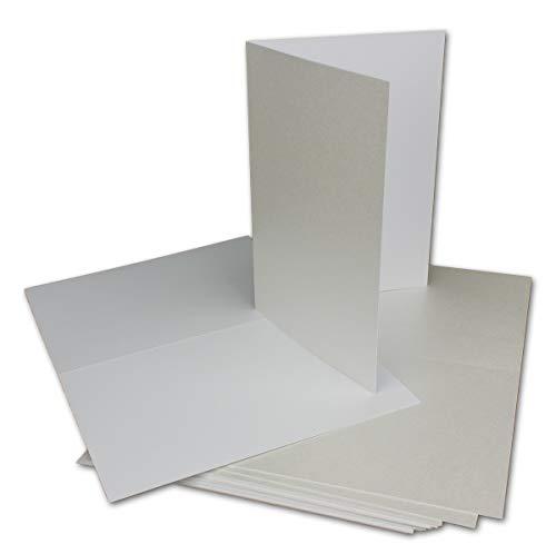 30 Klapp-Karte Umschlag Set DIN A6/C6 Weiss matt glänzend - Karte A6 10,5 x 14,7 cm Umschlag C6 11,5 x 16 cm - Eine Karte-Umschlag-Kombination der Premium-Klasse