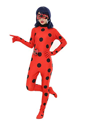 POINGS Kinder Mädchen Junge Zentai Spandex Lycra Anzug Ladybug Cosplay Overall Bodysuit Halloween Karneval Kostüm Rot S(Erwachsene) (Spandex Bodysuit Halloween)