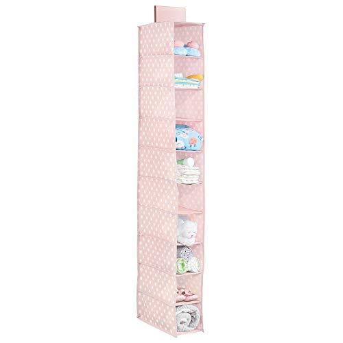 mDesign étagère suspendue – rangement suspendu en tissu à pois avec 10 compartiments – meuble suspendu idéal pour la chambre d'enfant – rose/blanc