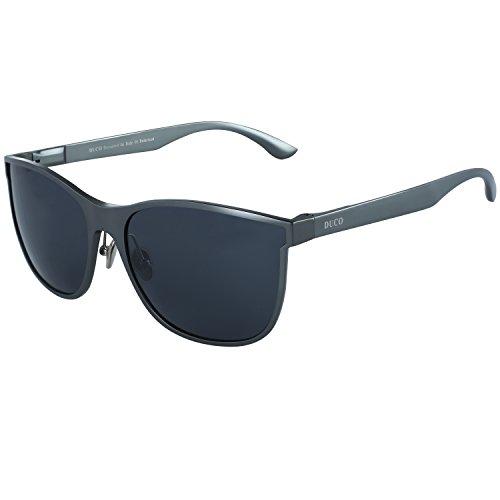 DUCO Herren polarisierten Fahren Sonnenbrille Wayfarer Style Brillenmode Umrandeten Gläser UV400 Schutz 8205 (Gunmetal/Grau)