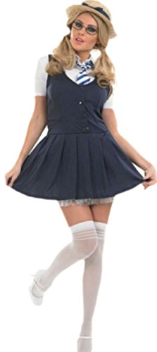 Schulmädchen Kostüm, Kleid, Karneval, Fasching, M, Blau (Hübsch Schminken Für Halloween)