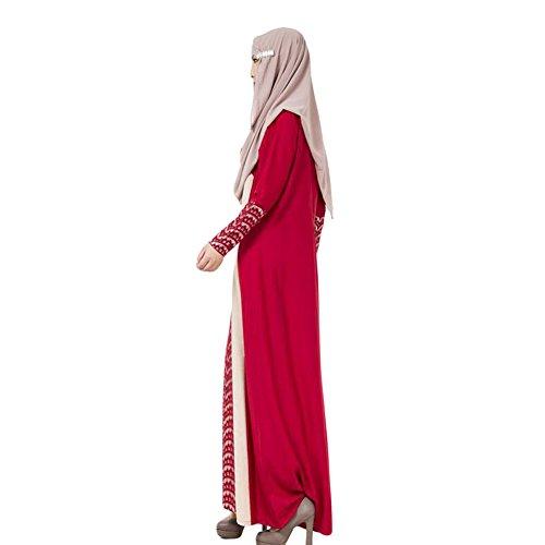 Haodasi Femme Musulman Arab Robe Middle East Kaftan Abaya Lace Stitching Dress red