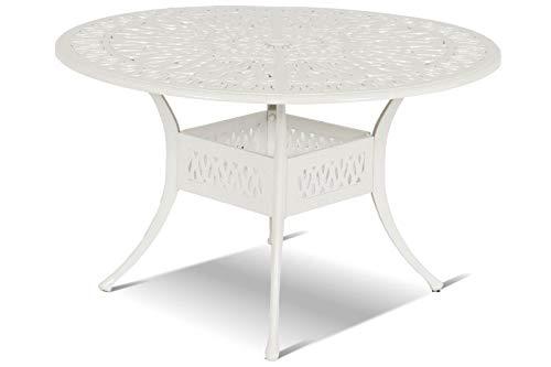 Unimet Hartman Amalfi Tisch, weiß aus Alu-Guss, antik, Ø120cm, Terrassentisch Garten-Tisch, Alutisch Balkon Terrasse jugendstil