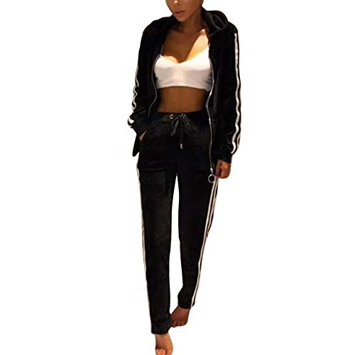 Vertvie Damen Trainingsanzug SAMT Velour Freizeitanzug Mode Zipper Top mit Zwei Taschen + Lange Hose mit Kordelzug 2 Stück Sport Set(Schwarz, 2XL) -